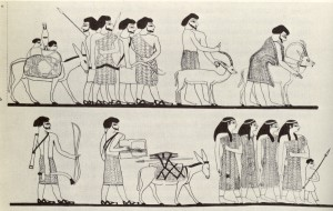 "One of the earliest images of the people the ancient Egyptians called ""rulers of foreign lands"", and which historians generally call ""The Hyksos"" arriving in Egypt, from a tomb at Beni Hassan. Whilst the Hyksos have come to be associated with the arrival of the horse in Egypt, this is only partly true; the horse is particularly associated with one dynasty of the Hyksos AFTER they arrived in Egypt. Most, although not all, equid burials in the delta region of Egypt are of donkeys, which played and still play a vital part in many economies, ancient and modern."