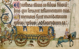 Royal women riding in a whirlicote - remind you of anything? One of them is being handed a little pet dog by a man on horseback.