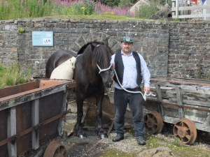 Dales pony Westwick Paddy and Kevin Owens at the entrance to the mine.